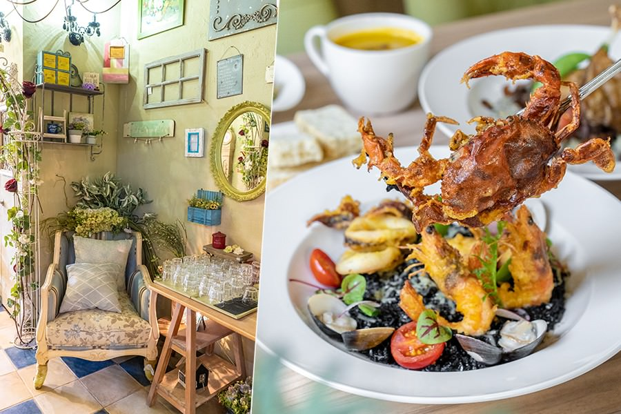 常堤複合式餐廳(高雄)城市裡的小秘境花園!可愛軟殼蟹黑嚕嚕燉飯,肉食推薦辣味雞腿義大利麵