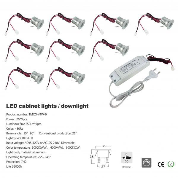 Led Cabinet Light 3w 9pcs 95lm Ac95 120v Or Ac195 240v Dimmable Dc12v Ip65 80ra Aluminum Color