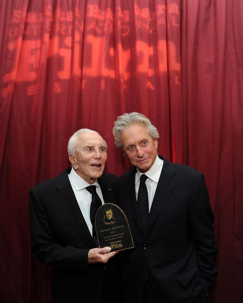 Kirk Douglas and his oldest son, Michael, in October 2011.