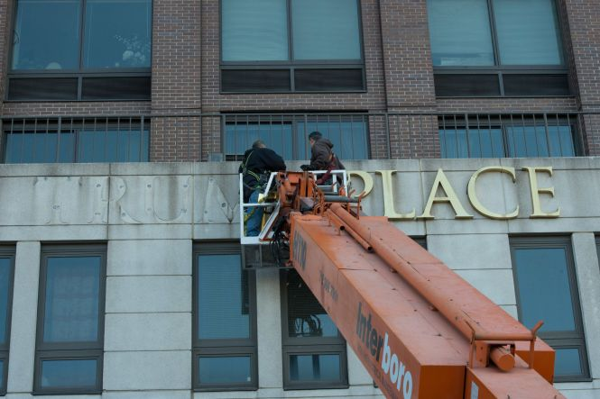 Workers Remove Trump Signage From 180 Riverside Blvd On Manhattan S Nbsp Upper