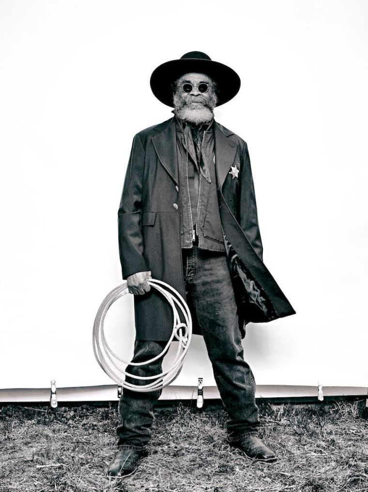 """Brad Trent, """"Ellis 'Mountain Man'Harris from 'The Federation of Black Cowboys'"""" series for The Village Voice, 2016 ink"""