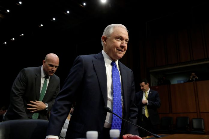 Jeff Sessions Once Again Dodges Questions About Trump's Firing Of Former FBI Director Jeff Sessions Once Again Dodges Questions About Trump's Firing Of Former FBI Director 59e767841800004206dfb0c2