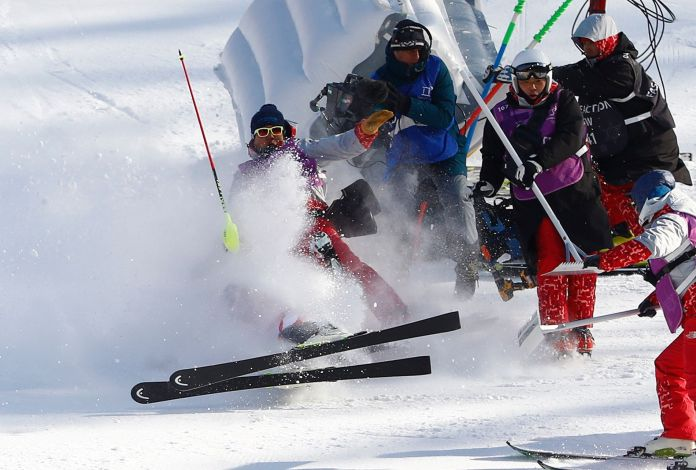 Olympic Ski Champion's Epic Wipeout Makes The Media Eat Snow Too Olympic Ski Champion's Epic Wipeout Makes The Media Eat Snow Too 5a82ac1b2000003900eaeaec