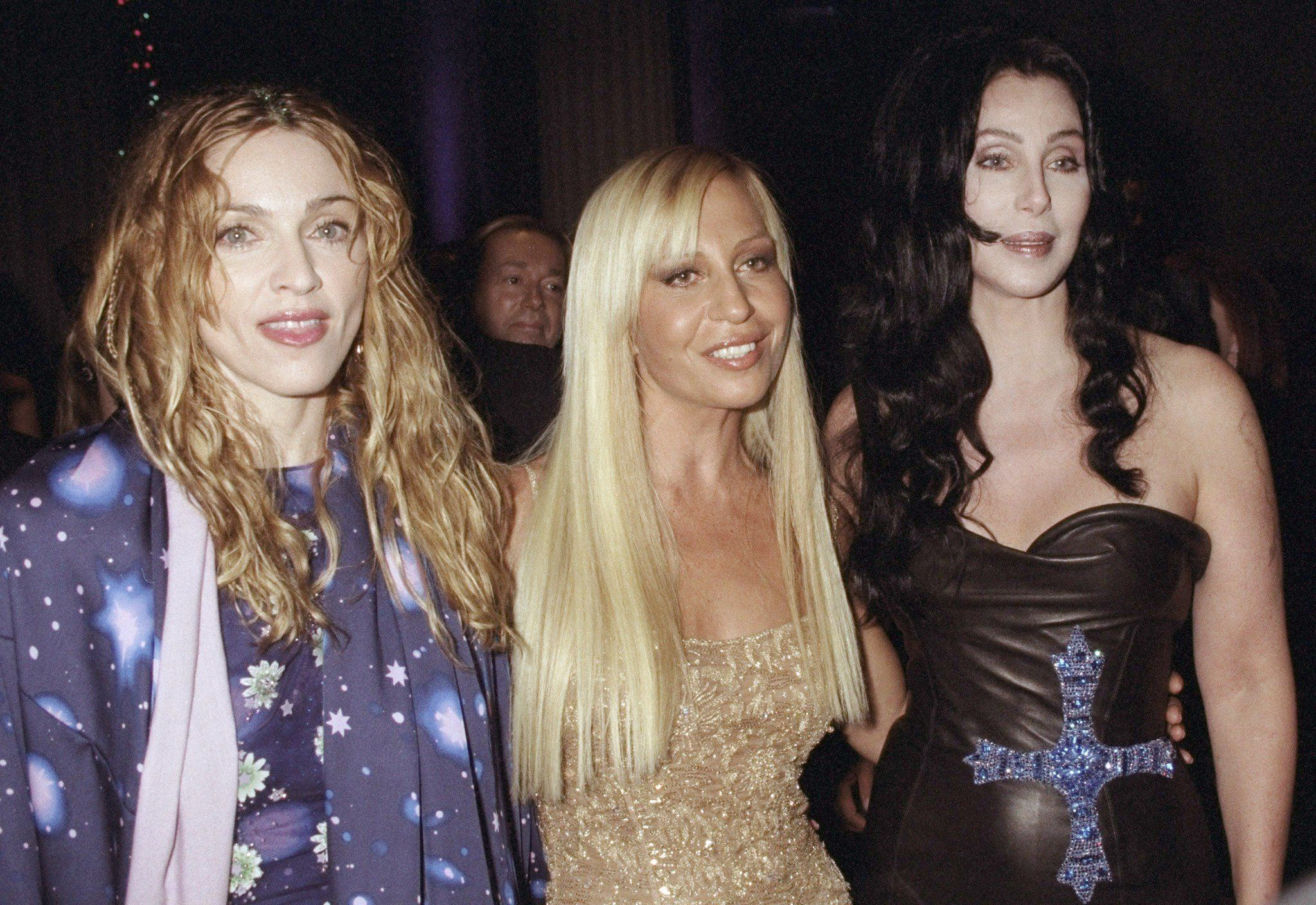 Madonna, Donatella Versace and Cher attend a gala tribute to Gianni Versace at the Metropolitan Museum of Art in New York City.