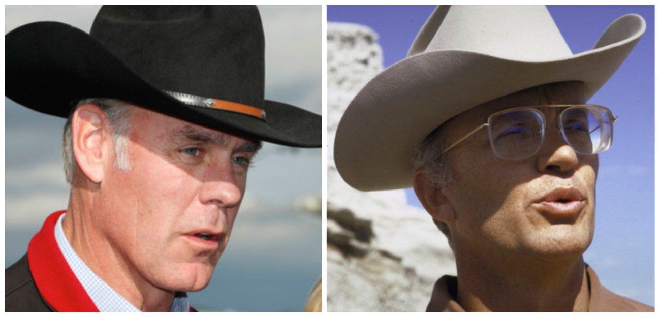 Interior Secretary Ryan Zinke, left, in Utahon May 10, 2017, and James Watt, right, who led theInterior Departmen