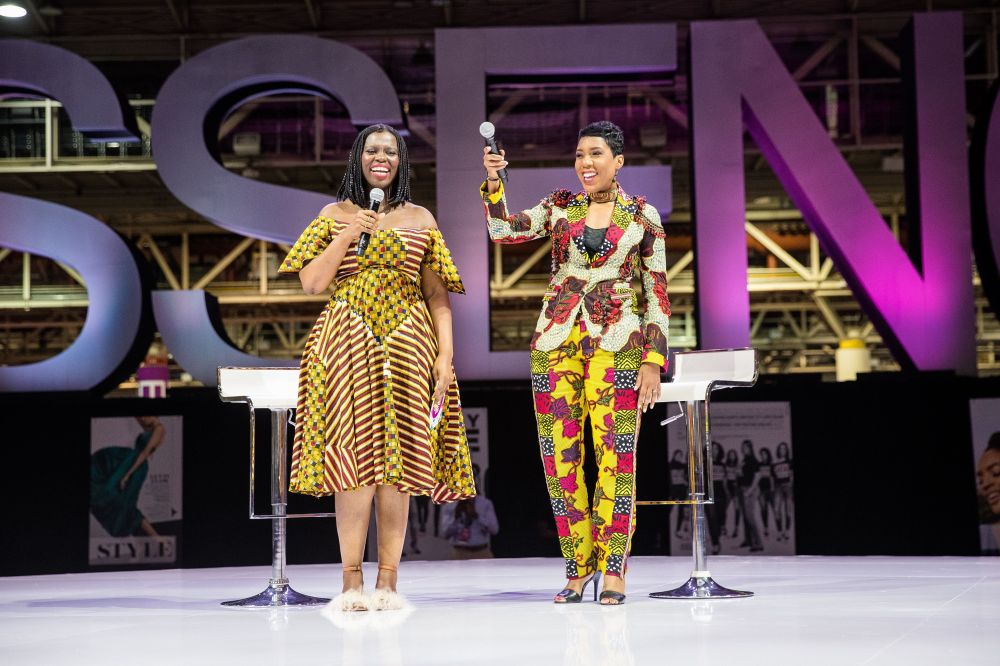 Ivy McGregor, director of philanthropyfor BeyGood, announces a safe water initiative during the 2017 Essence Festival.