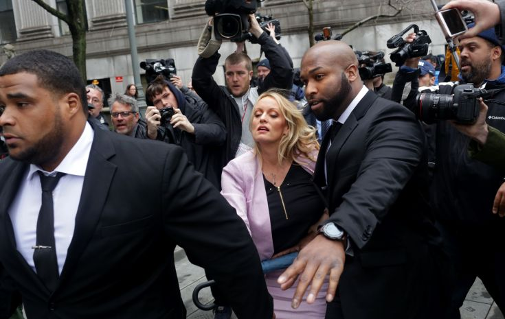 Adult film actress Stephanie Clifford, whose stage name is Stormy Daniels, arrives at the United States District Court for th