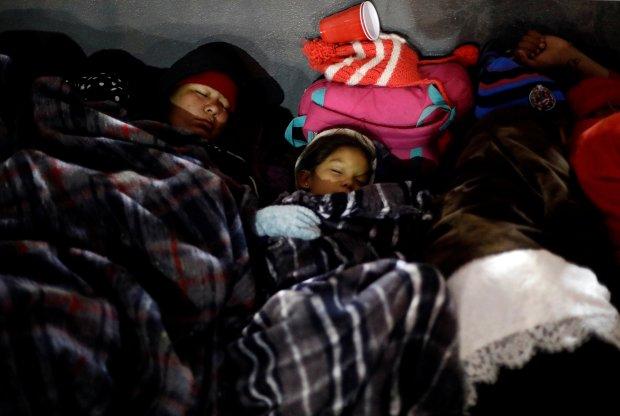 Sleepingnear the San Ysidro checkpoint.