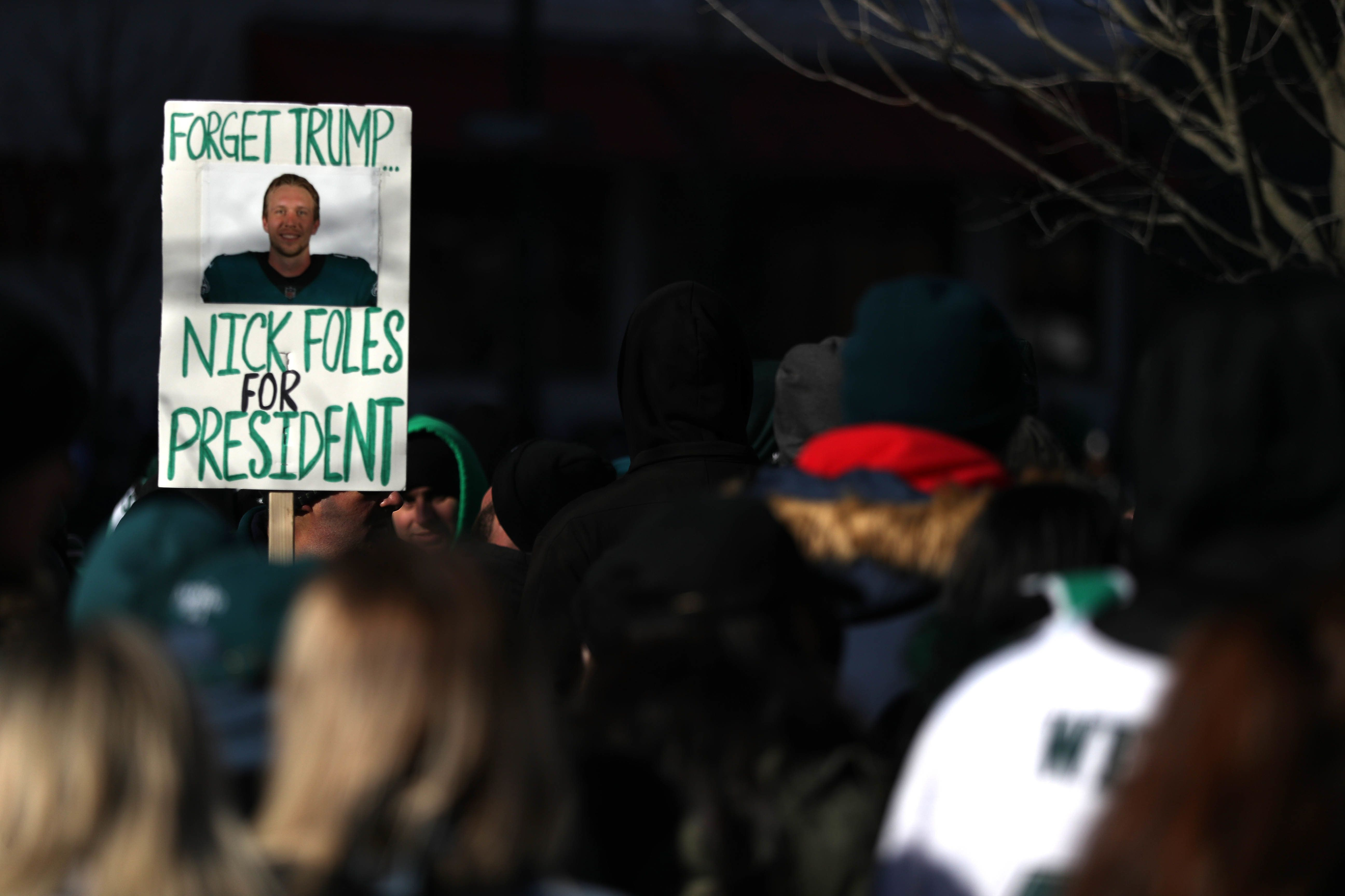 A sign held up during the Eagles' Super Bowl victory parade on Feb. 8 in Philadelphia.