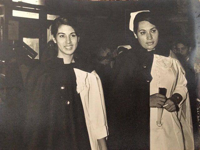 """""""That's mymother, Constansa, on the left. The picture was taken in 1969 in Mexico,when she was about to graduate"""