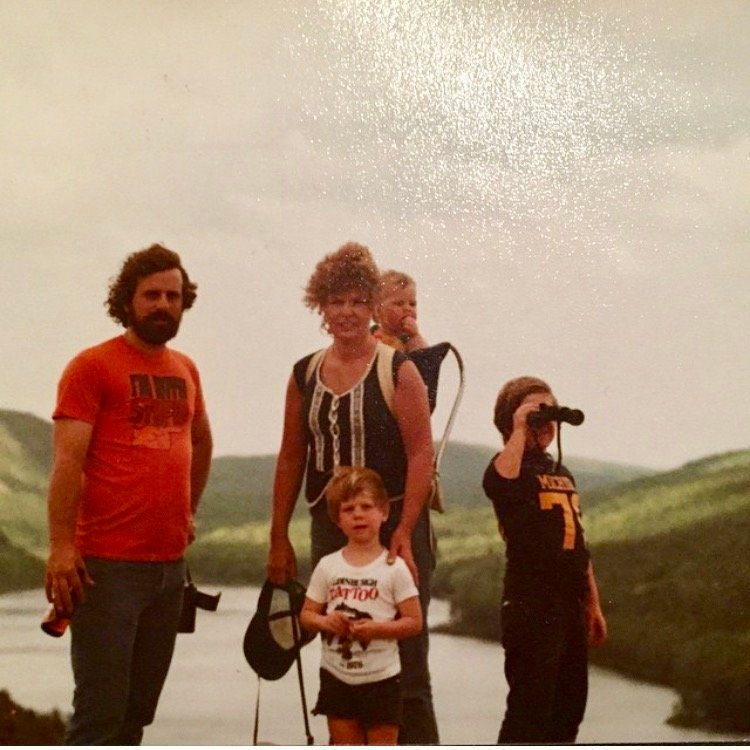 """""""Here's my family hiking the Porcupine Mountains in the Upper Peninsula of Michigan (before it was a hipster retreat). My mom"""