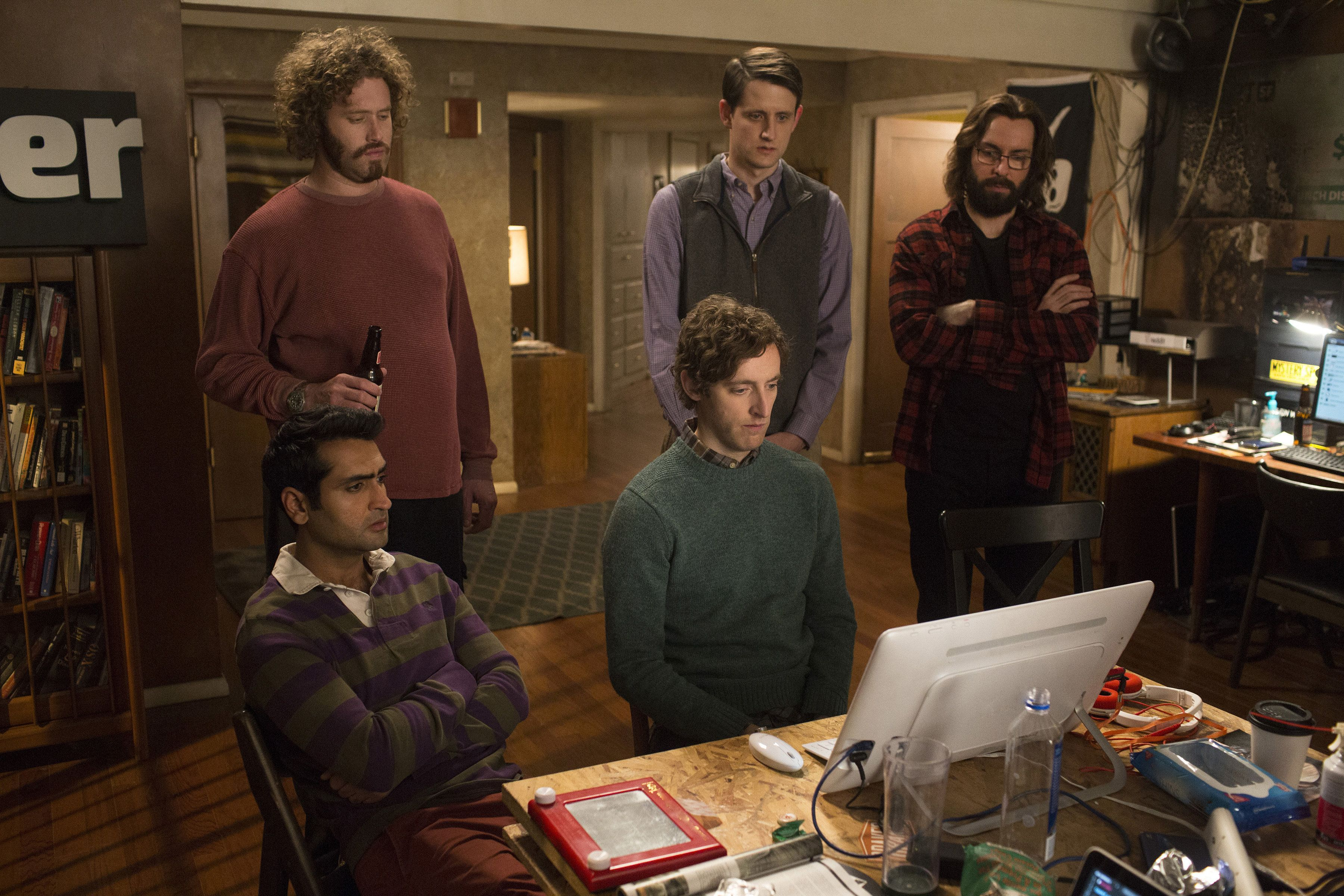 """Kumail Nanjiani, T.J. Miller, Zach Woods, Thomas Middleditch and Martin Starr in Season 3 of """"Silicon Valley."""""""