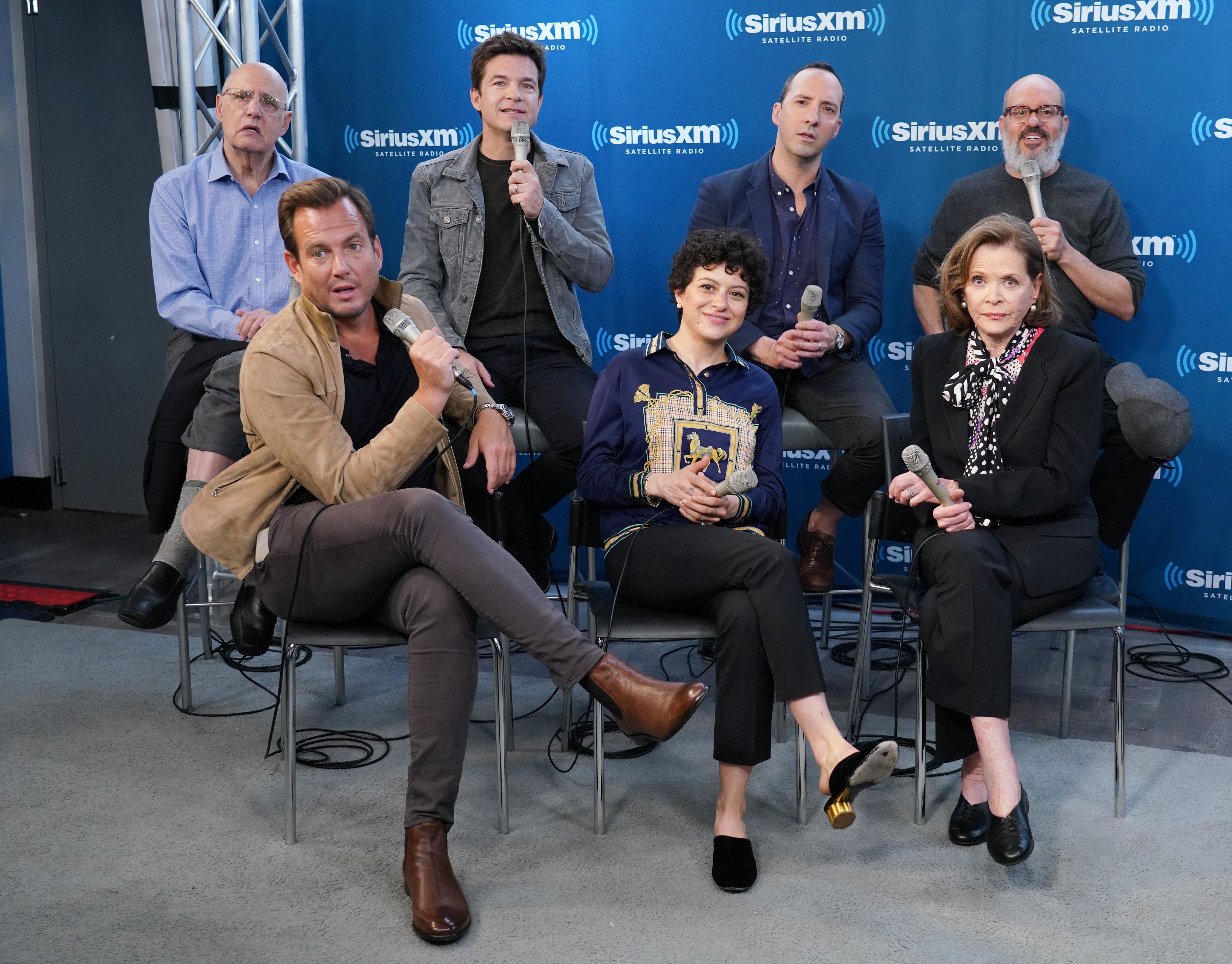 "The cast of ""Arrested Development."" Back row (left to right): Jeffrey Tambor, Jason Bateman, Tony Hale and David Cross. Front"