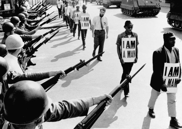 Civil rights activists are blocked by National Guardsmen while trying to stage a protest in Memphis, Tennessee, on March 29,