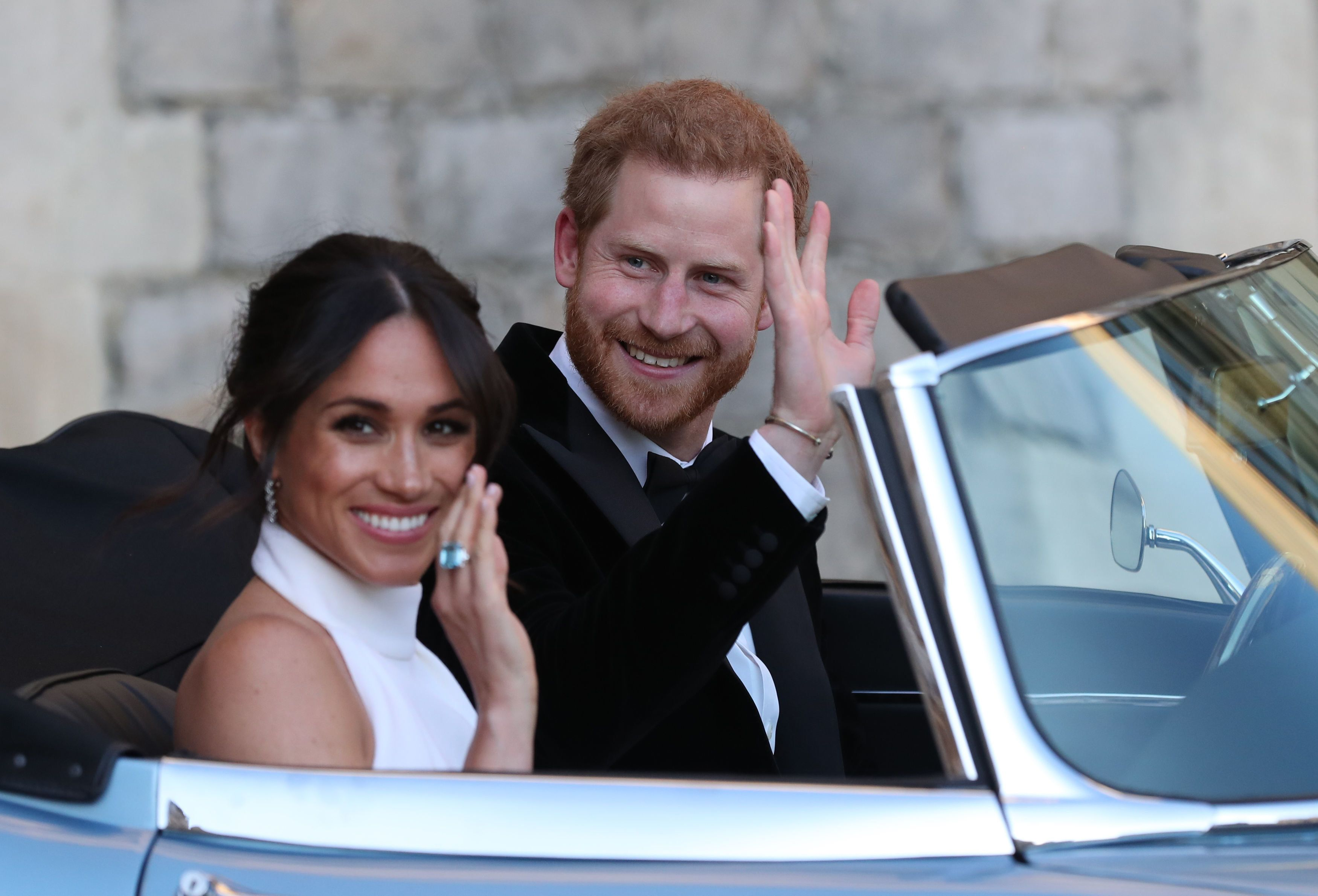 Meghan Markle and Prince Harry leaving Windsor Castle to attend an evening reception at Frogmore House.