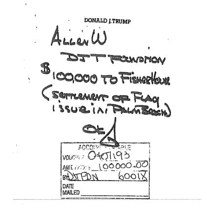 A handwritten note from Donald Trump directed his staff to take $100,000from his charitable foundation to pay off a set