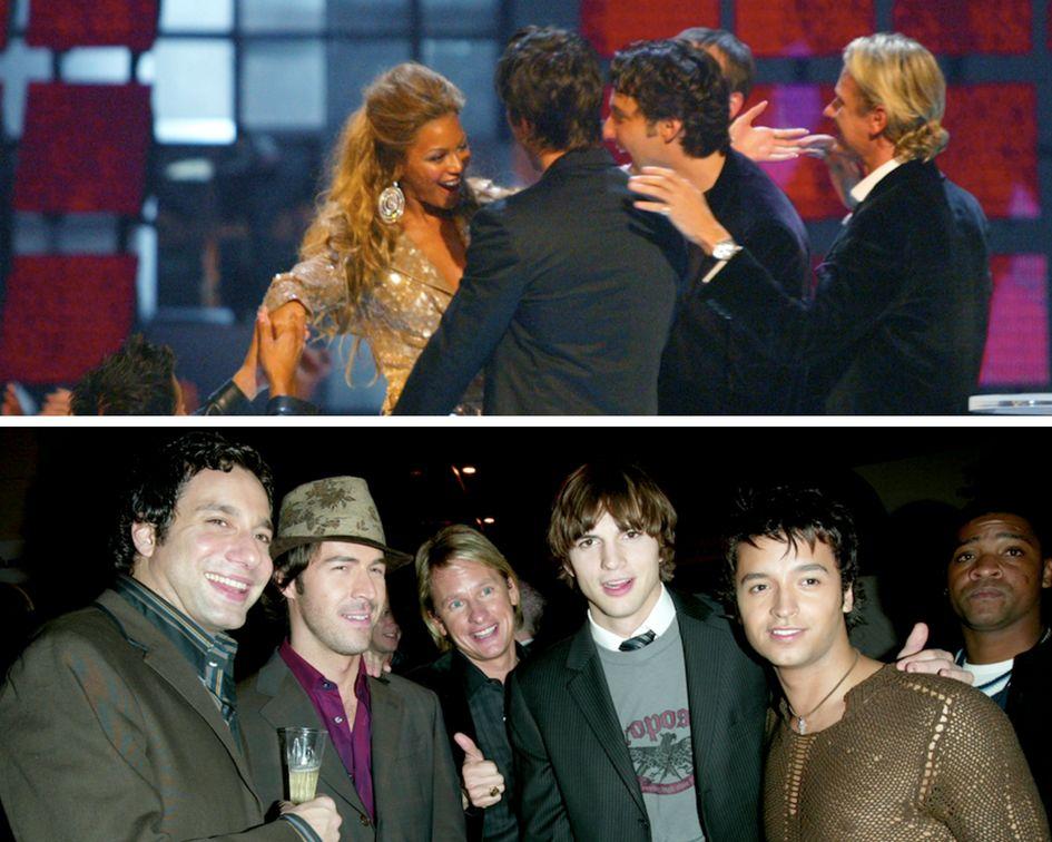 Top image: Beyonc & eacute; aux MTV Video Music Awards 2003. Image du bas: Ashton Kutcher à & nbsp; Les Grands Prix de VH1 en 2003.