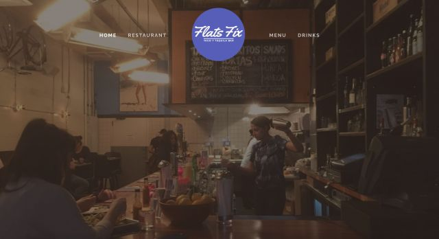 The homepage of Flats Fix, a bar-restaurant where AlexandriaOcasio-Cortez worked