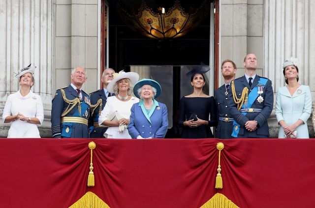 The rest of the royals watch the flypast.