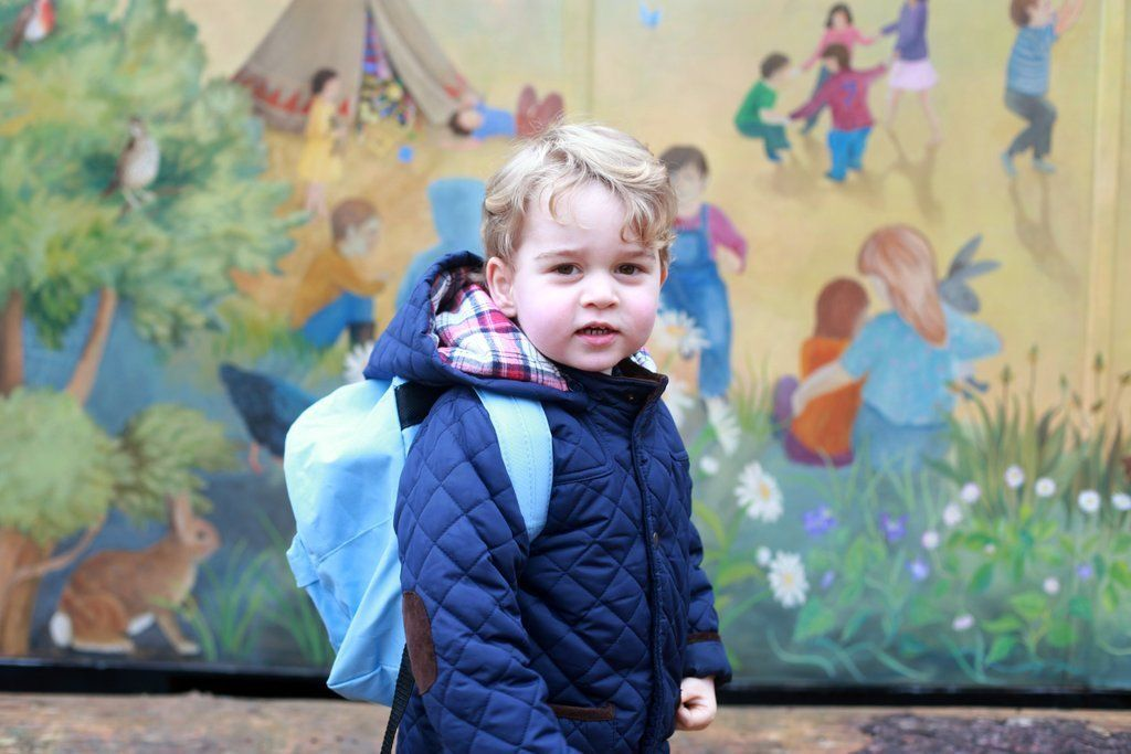 Prince George arrives for his first day at Westacre Montessori School in Norfolk on Jan. 6, 2016.