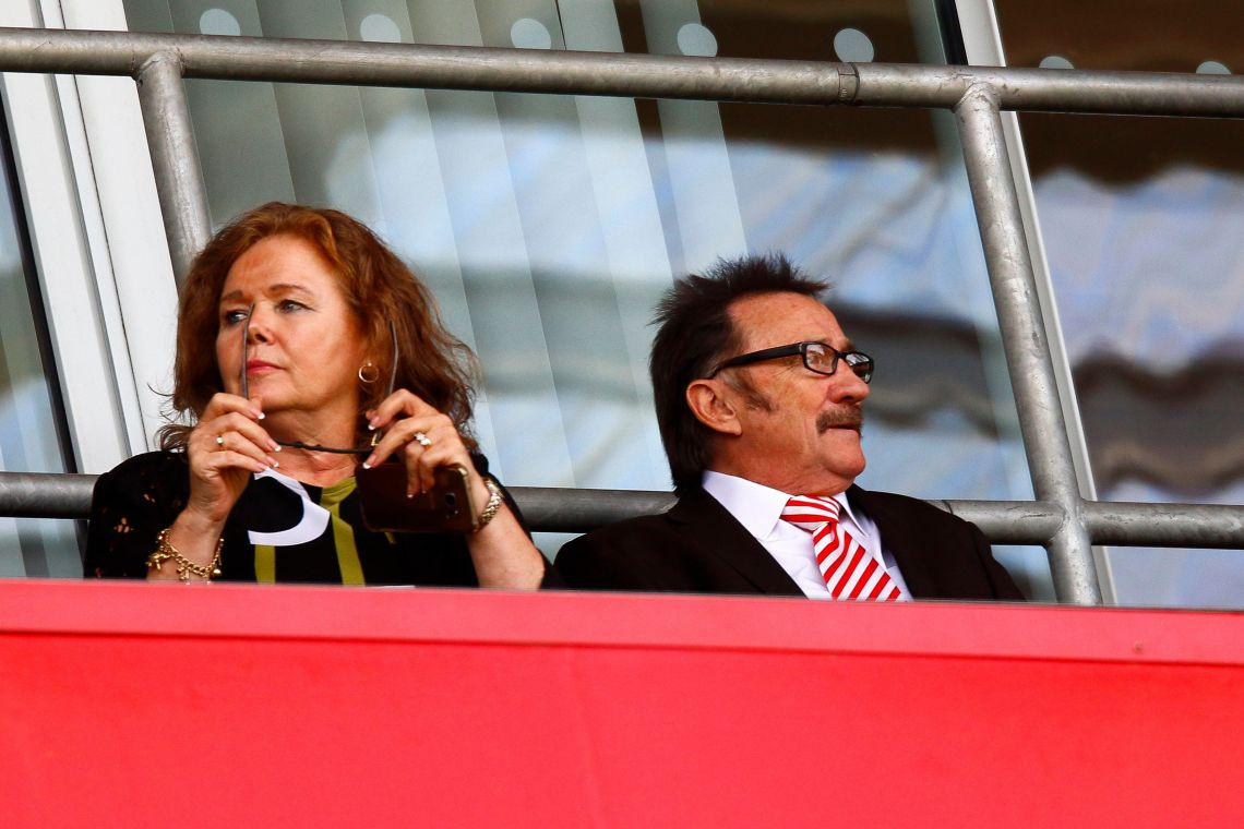 Paul and his wife, Sue, in the stands