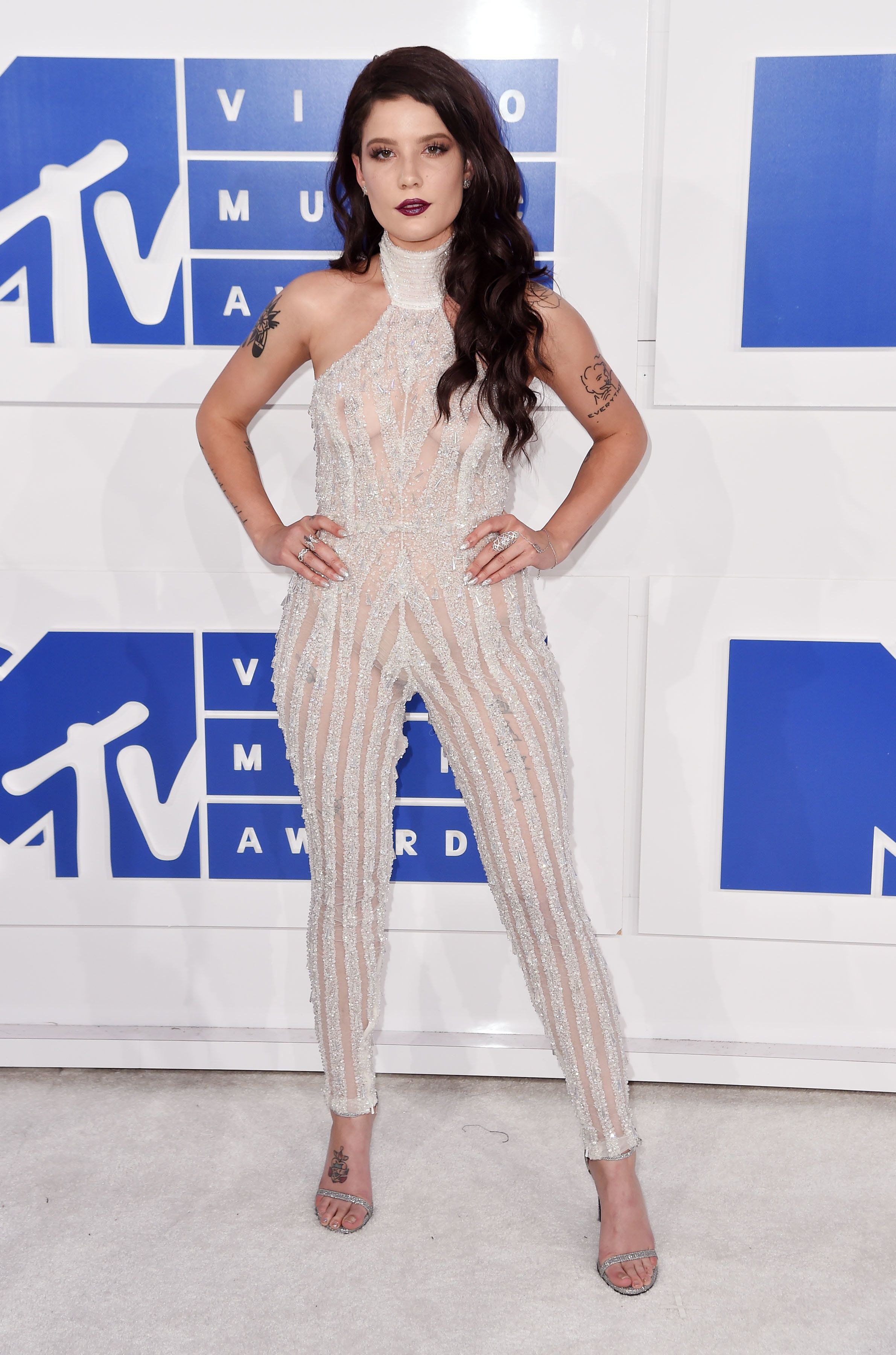 Wearing a sparkly catsuit at the MTV Video Music Awards on Aug. 28 in New York City.