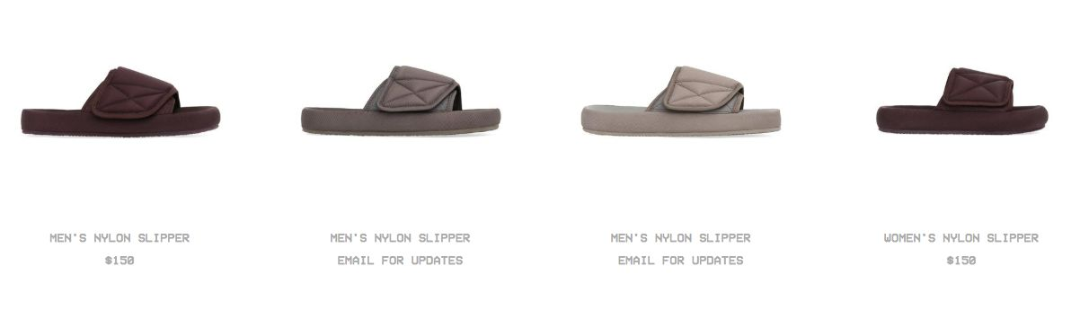 Kanye West's Yeezy slides on his website.