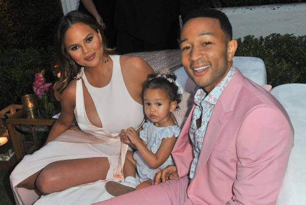 Chrissy Teigen, Luna Simone Stephens and John Legend attend John Legend's launch of his new rose wine brand, LVE.