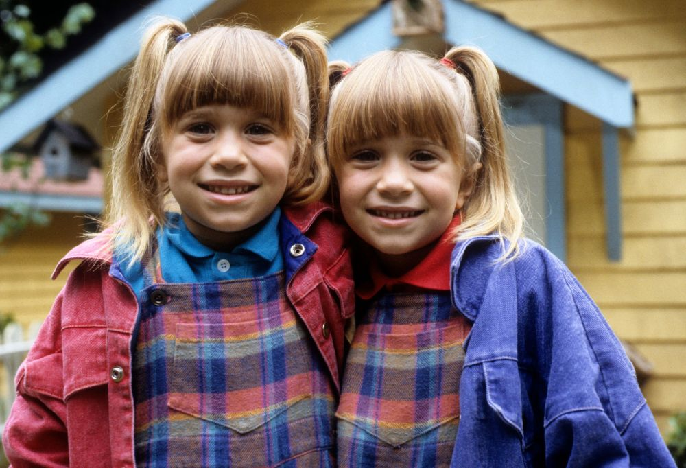 """Mary-Kate and Ashley Olsen on the set of their 1993 made-for-TV movie """"Double, Double, Toil and Trouble."""""""