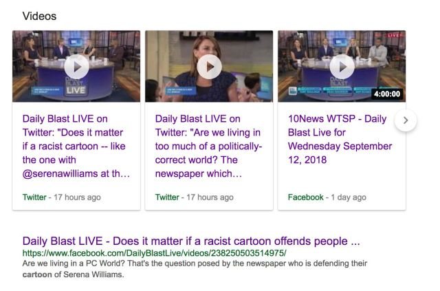 The segment previously showed up in Google searches about the topic.