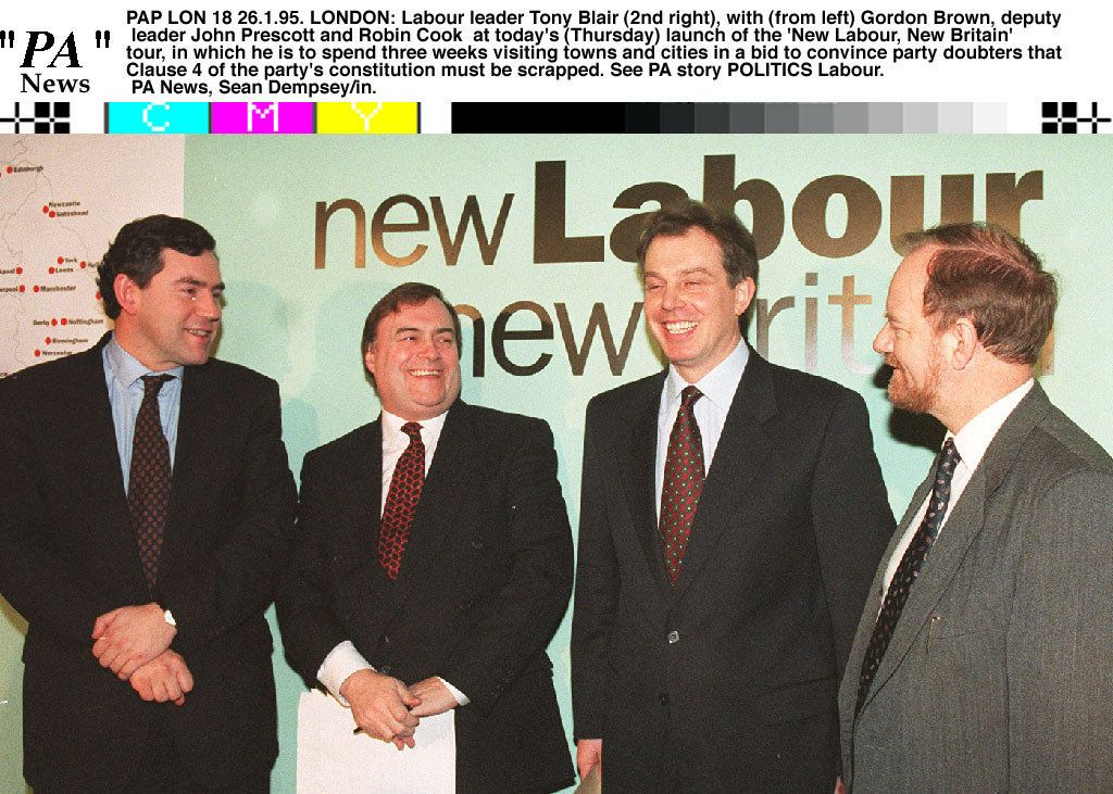 Gordon Brown, John Prescott, Tony Blair and Robin Cook tour the country to campaign for the new Clause IV in 1995.