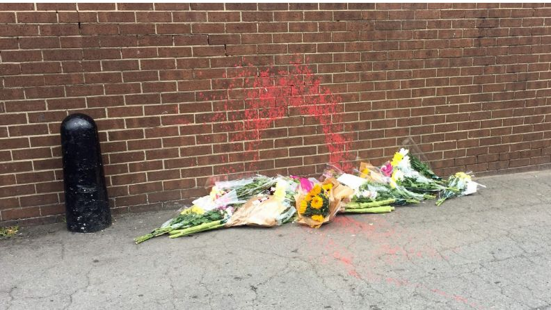 Tributes have been left at the scene where Michael Cash was sprayed with paint in Normanby