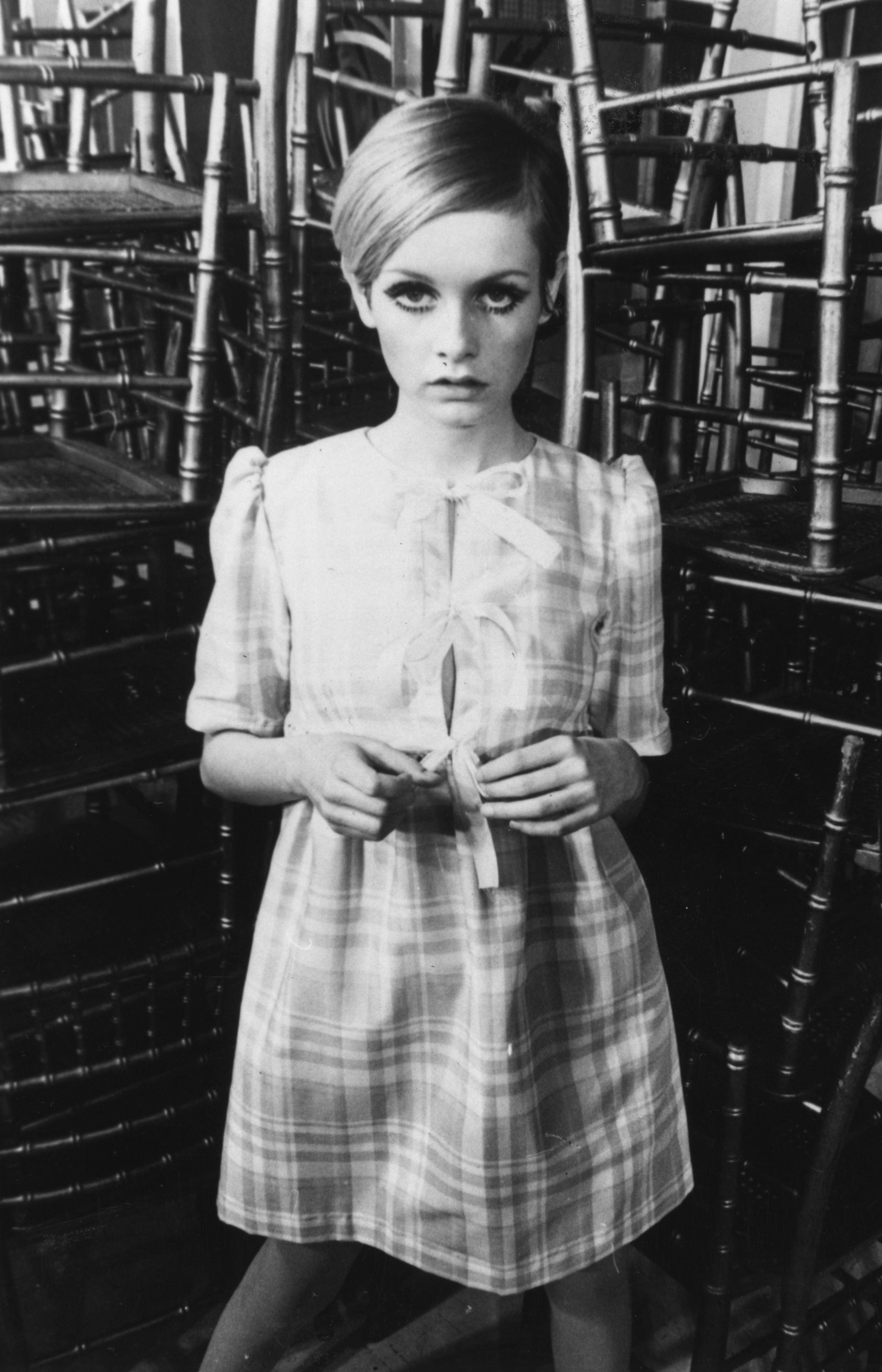"""Twiggy wears a dress from her """"Twiggy"""" label."""
