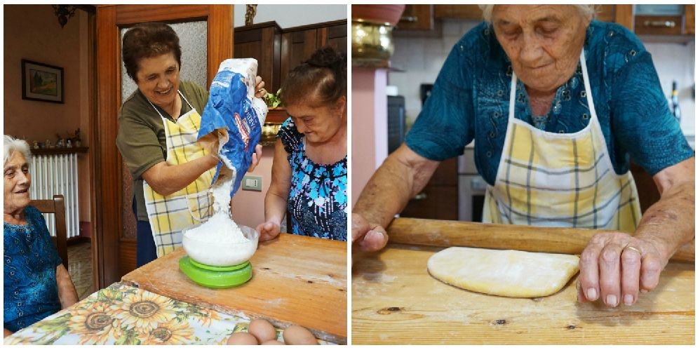 Left: Franca pours the flour onto a scale. Right: Elide rolls out the pasta dough with a mattarello.