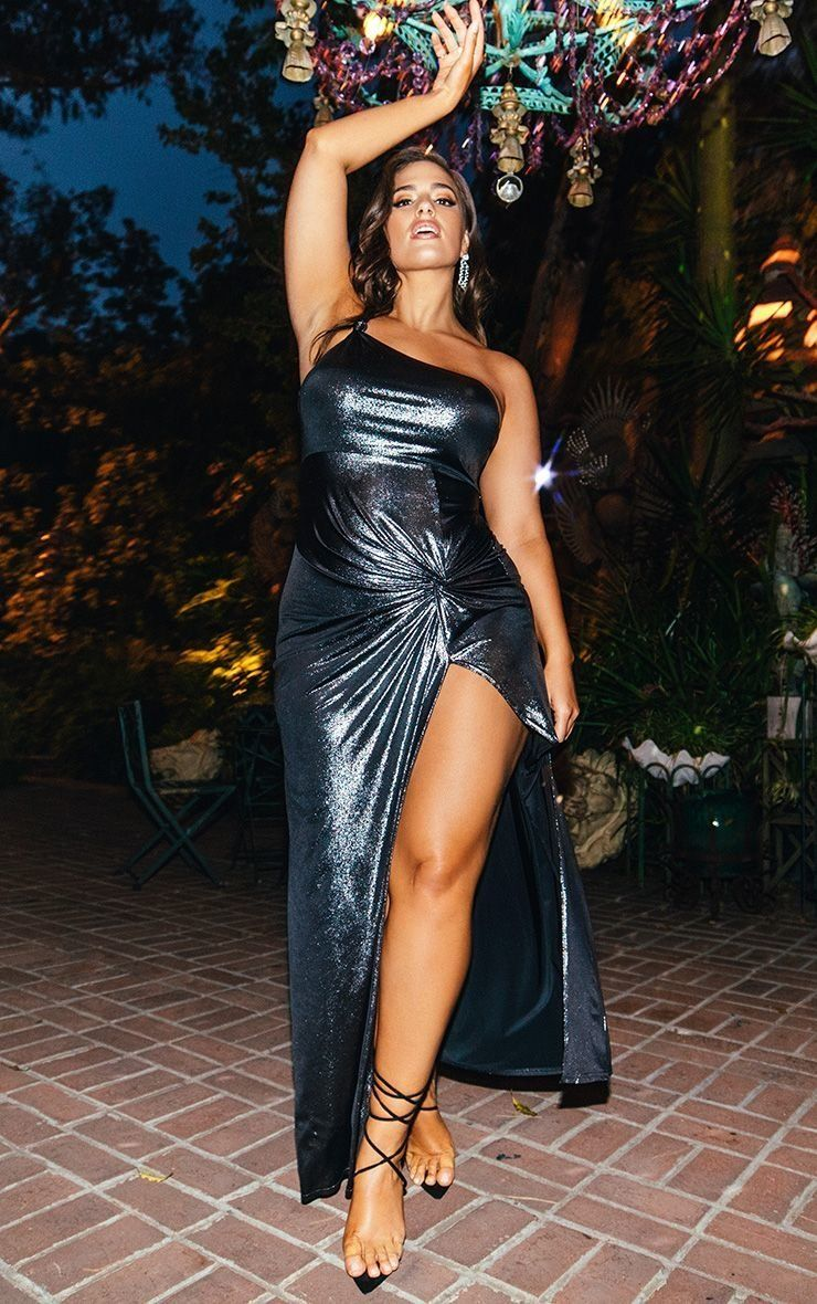"""<strong>Size</strong>: 0 to 24<br><a href=""""https://www.prettylittlething.us/black-metallic-one-shoulder-knot-detail-maxi-dres"""