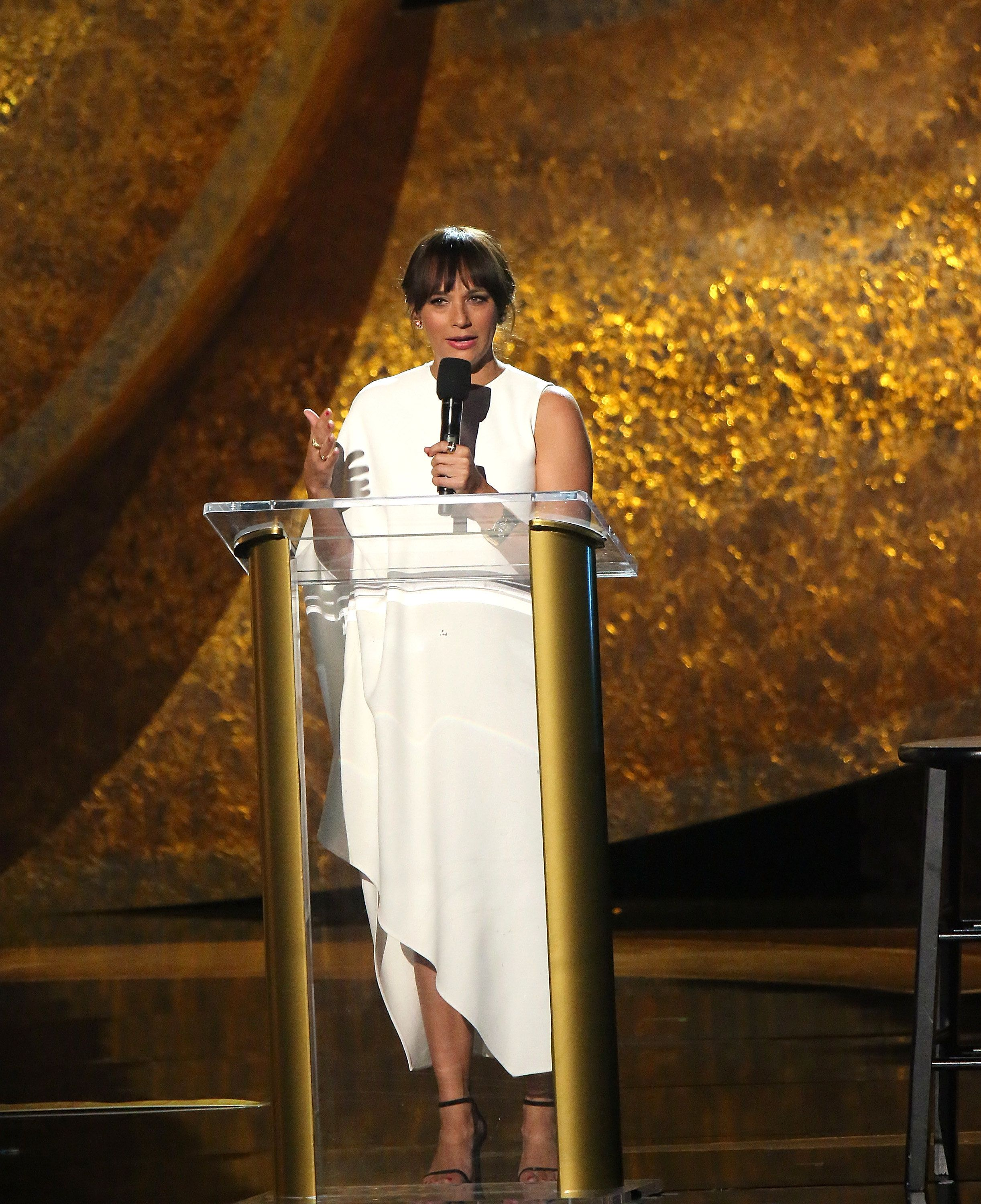 "Rashida Jones speaks onstage at ""Q 85: A Musical Celebration for Quincy Jones."""