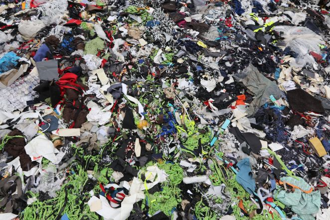 Garment factory waste at a dumping site in Dhaka, Bangladesh.