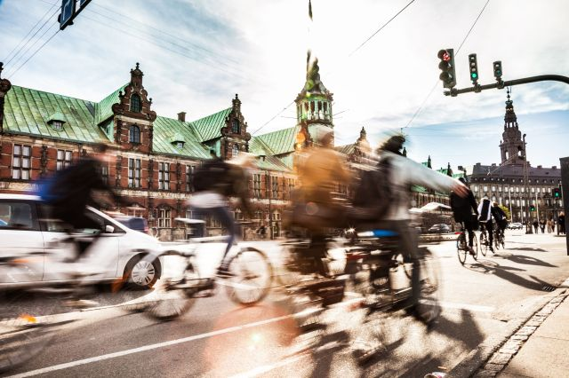 Commuters cycle in the center of Copenhagen, Denmark, which is frequently voted one of the most bike-friendly cities in the w