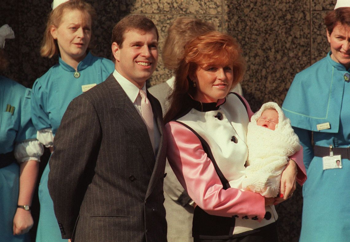 The Duke and Duchess of York outside Portland Hospital with newborn Eugenie