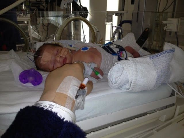 Baby Lyra while still ill in hospital