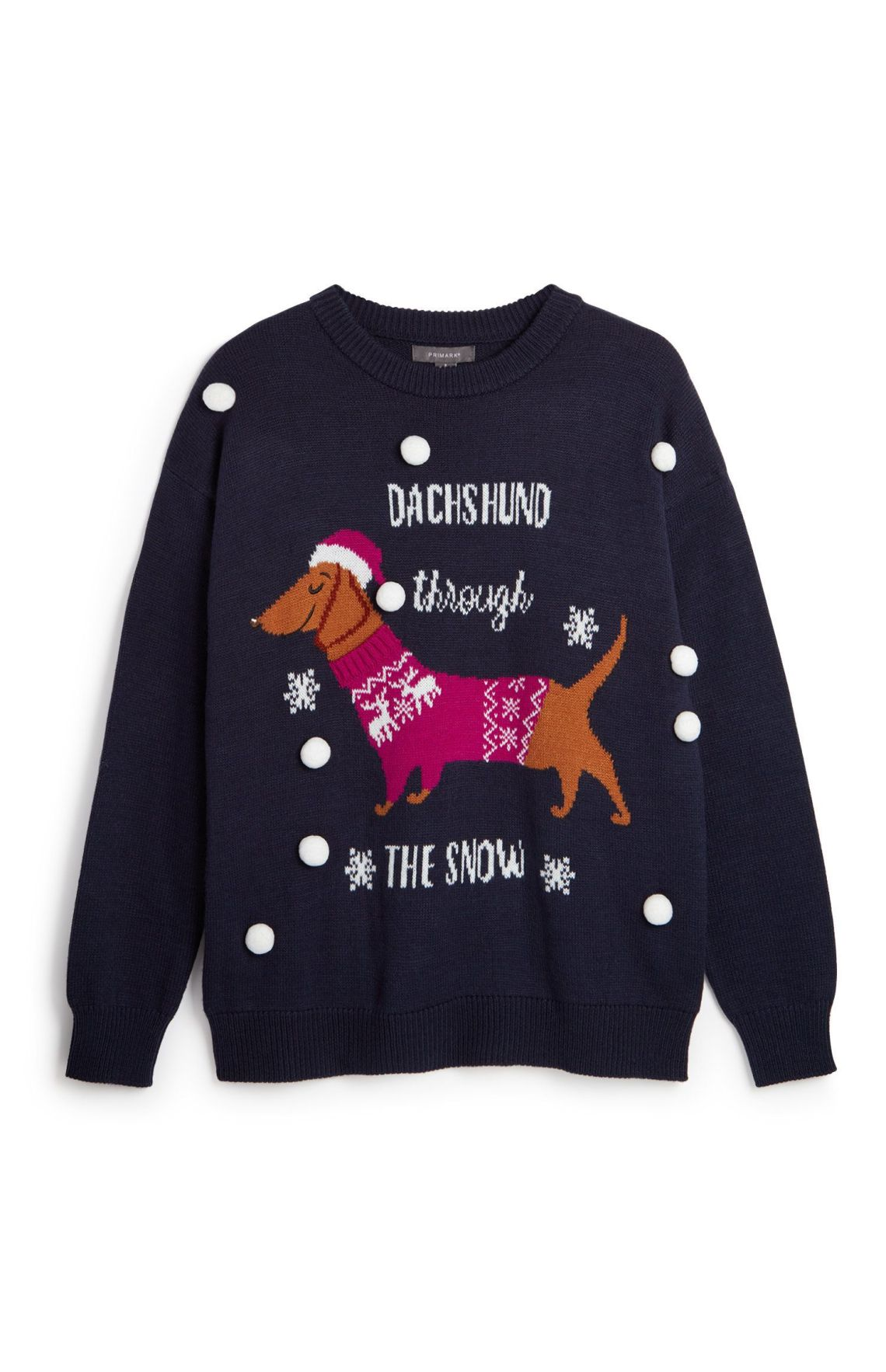 Not only does this have a sausage dog in its own Christmas jumper, but HELLO POMPOMS.Primark, £12.