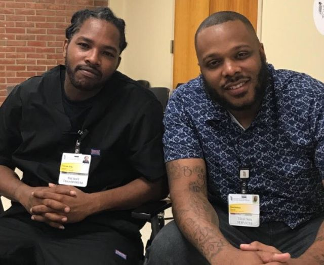 T.J. King, left, and Che Bullock at the Prince George's Hospital Center. Bullock helped recruit King into theCapital Re