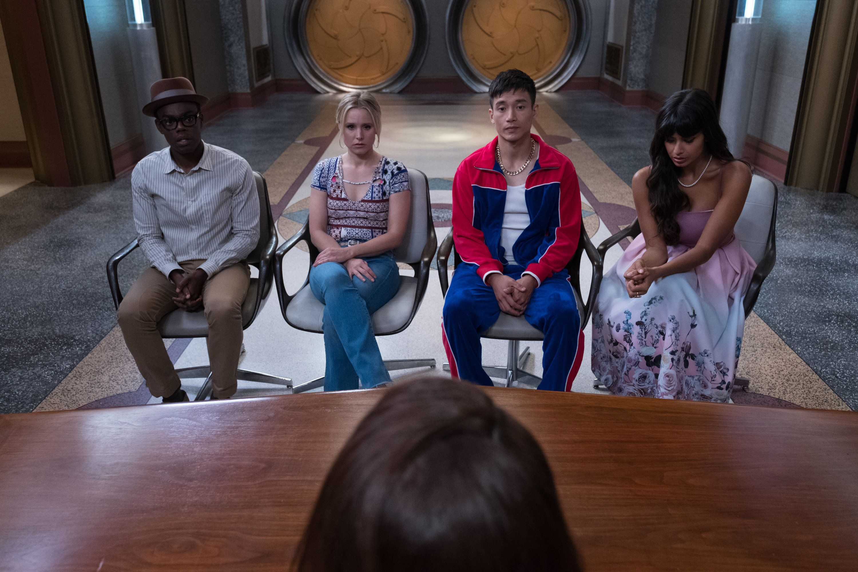 """William Jackson-Harper, Kristen Bell, Manny Jacinto and Jameela Jamil on """"The Good Place."""""""