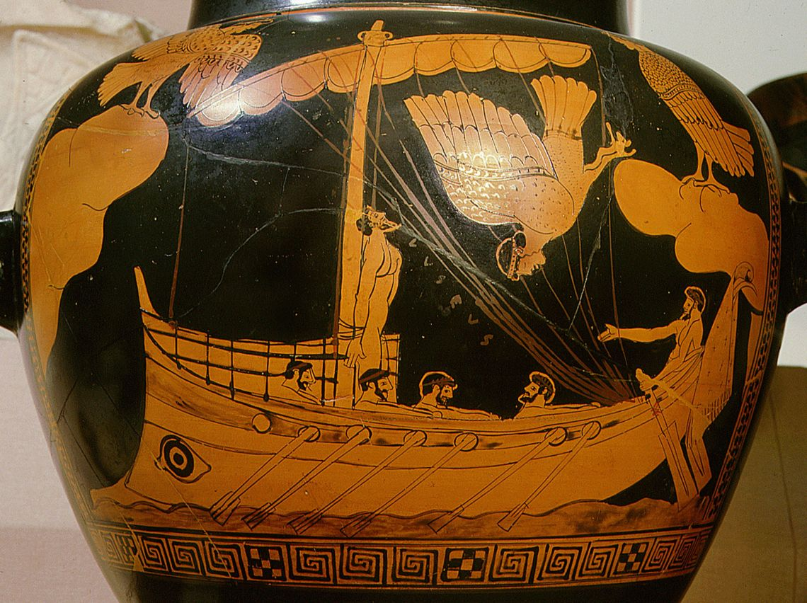 Researchers said such a ship design has only previously been seen on Greek pottery from the time, such as the Siren Vase in the British Museum