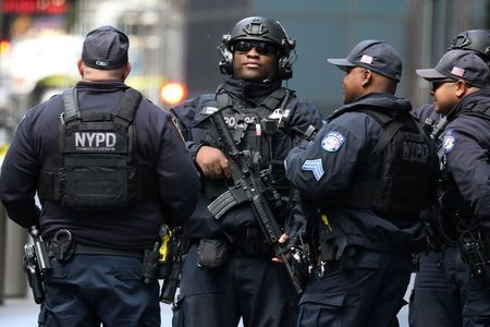 Members of the New York Police Department Counter Terrorism Squad are pictured outside the Time Warner Centre in the Manhattan borough of New York City.