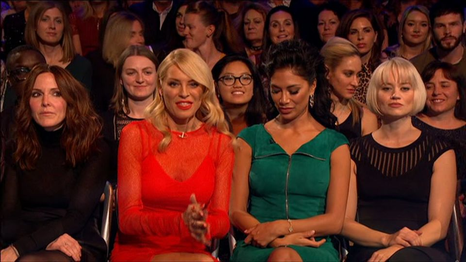 Tess Daly had a brief chat with Nicole, who was in the audience with her former Pussycat Dolls bandmate Kimberly Wyatt (right).