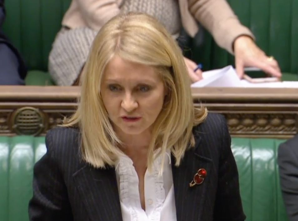 Work and Pensions Secretary Esther McVey in the House of Commons