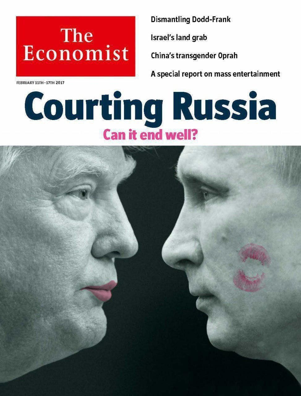 A lipstick-wearing Donald Trump puckers up to Vladimir Putin on the cover of The Economist.