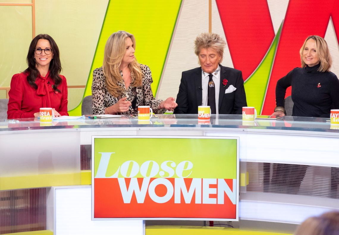 Andrea McLean (left) with (l-r) Penny Lancaster, Rod Stewart and Carol McGiffin.