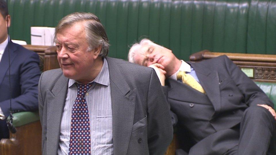 Sir Desmond Swayne sleeps during Ken Clarke's speech